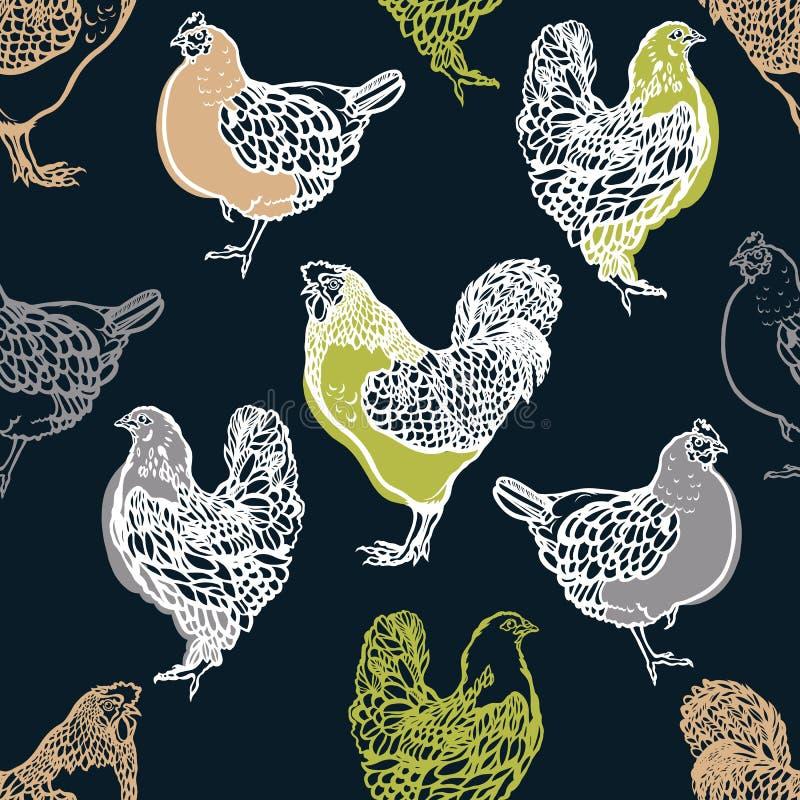 Modèle sans couture avec les coqs et le poulet volaille affermage Augmenter de bétail Tiré par la main illustration stock