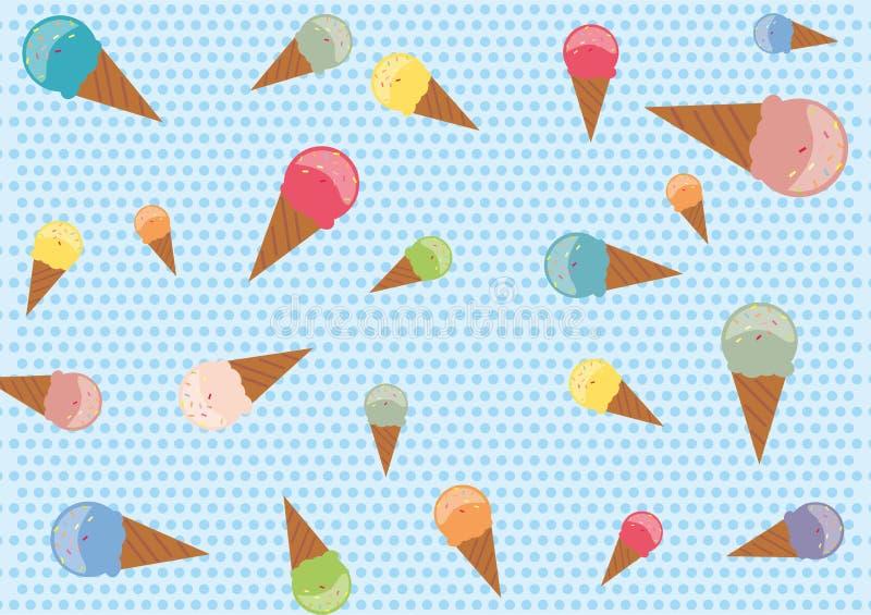 Modèle sans couture avec les cornets de crème glacée colorés illustration stock
