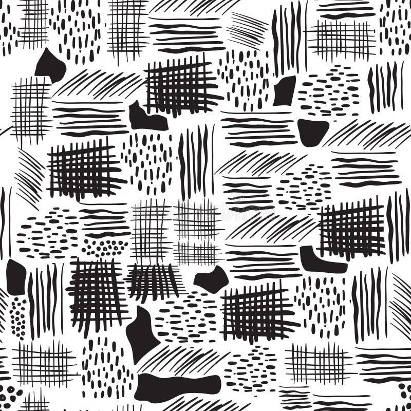 Modèle sans couture avec les courses tirées par la main de brosse Illustration d'encre illustration stock