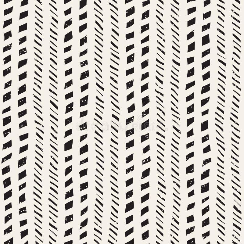 Modèle sans couture avec les courses tirées par la main de brosse Illustration de griffonnage d'encre Modèle monochrome géométriq illustration stock