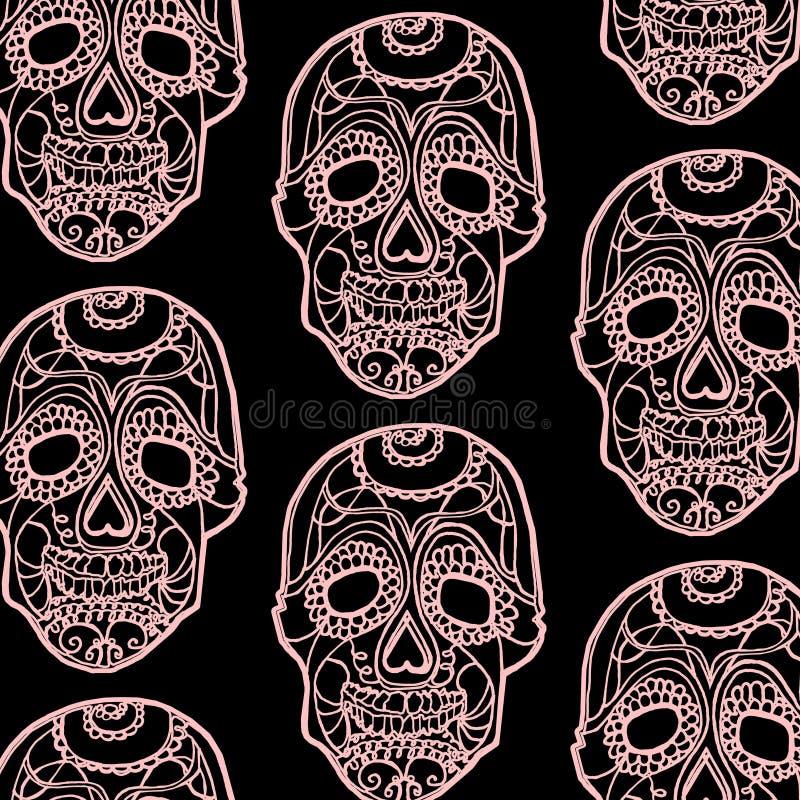 Modèle sans couture avec les crânes roses et le fond noir image libre de droits