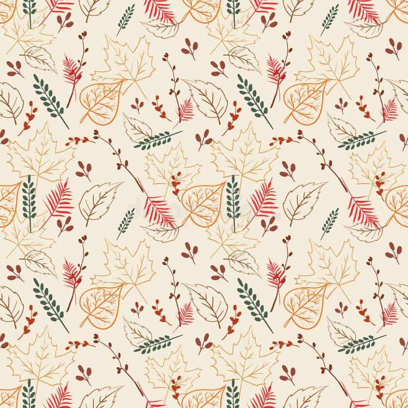 Modèle sans couture avec les feuilles d'automne numériques illustration stock