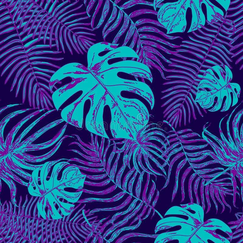 Modèle sans couture avec les feuilles exotiques illustration stock