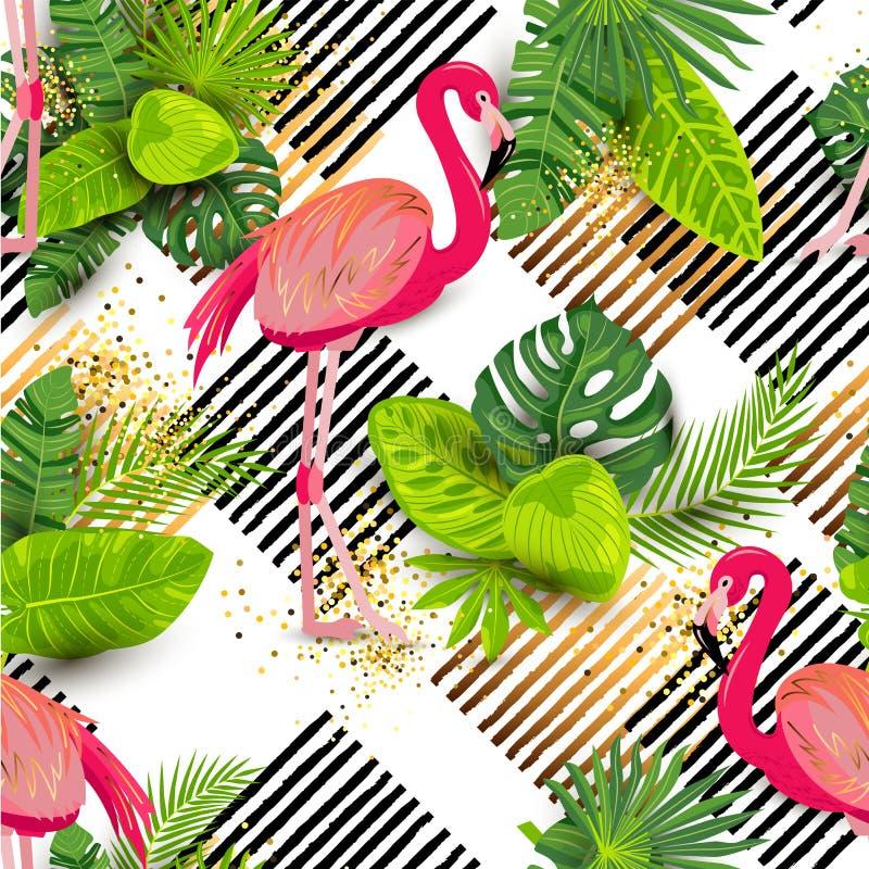 Modèle sans couture avec les feuilles exotiques tropicales et le flamant rose illustration de vecteur