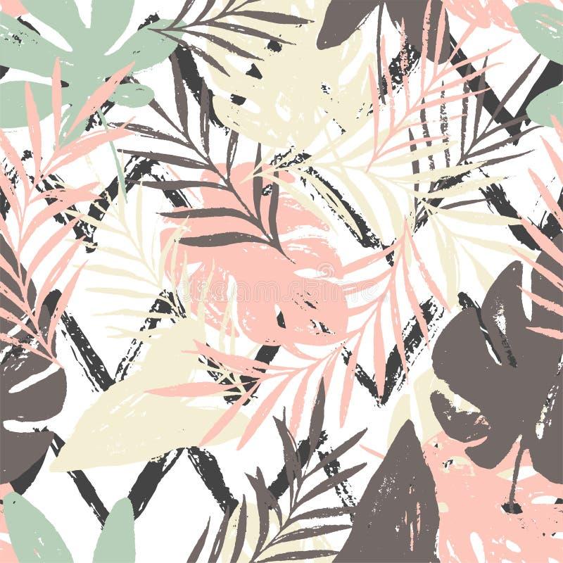 Modèle sans couture avec les feuilles tropicales, textures tirées par la main à la mode sur le fond blanc noir de zigzag illustration stock