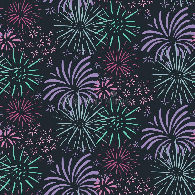 Modèle sans couture avec les feux d'artifice tirés par la main Fond sans fin de vecteur coloré de vacances illustration libre de droits