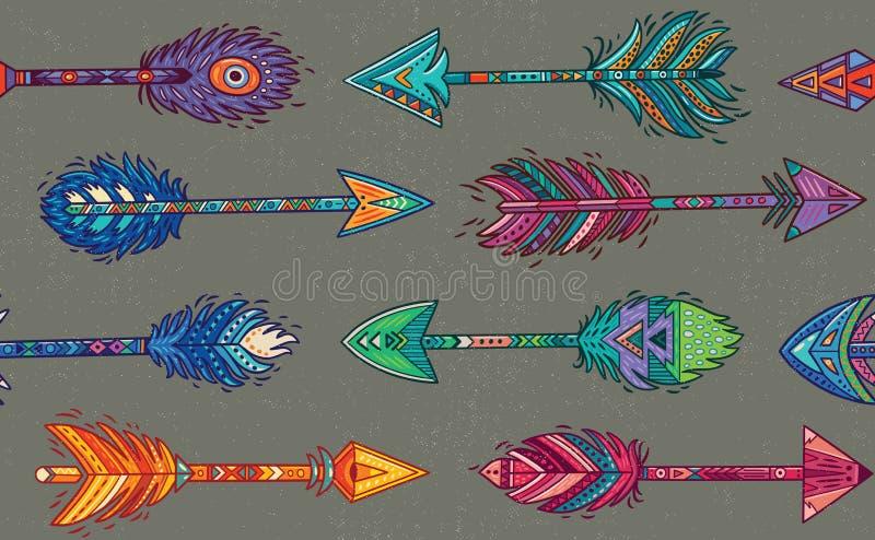 Modèle sans couture avec les flèches indiennes indigènes dans le style ethnique illustration stock