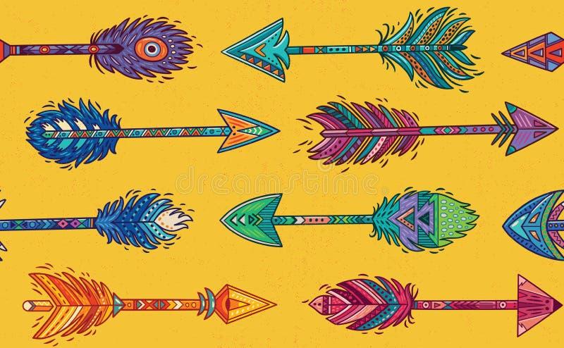 Modèle sans couture avec les flèches indiennes indigènes dans le style ethnique illustration de vecteur