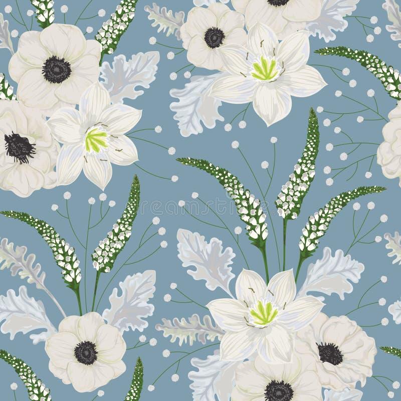 Modèle sans couture avec les fleurs blanches d'anémone, le lis d'eucharis, le miller poussiéreux, les mufliers et le gypsophila illustration libre de droits