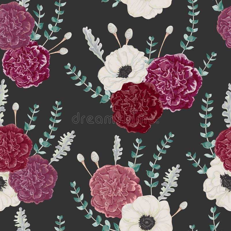Modèle sans couture avec les fleurs d'oeillet et d'anémone, l'eucalyptus, le miller poussiéreux et le brunia d'argent illustration de vecteur