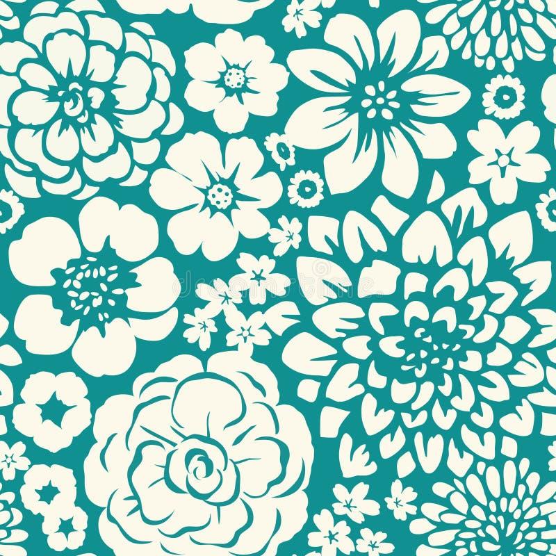 Modèle sans couture avec les fleurs de floraison illustration libre de droits