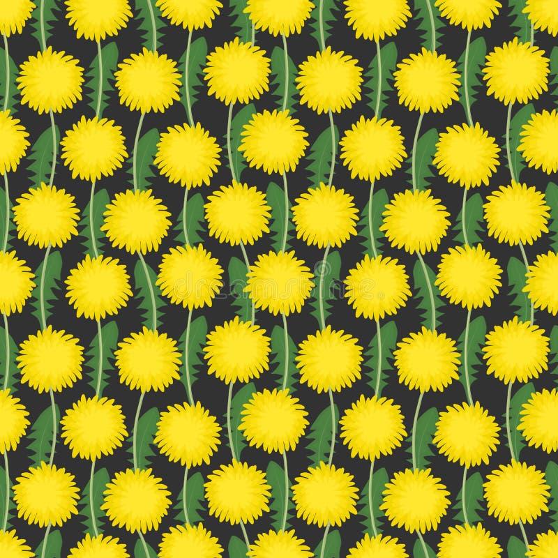 Modèle sans couture avec les fleurs et les feuilles jaunes de vert illustration stock