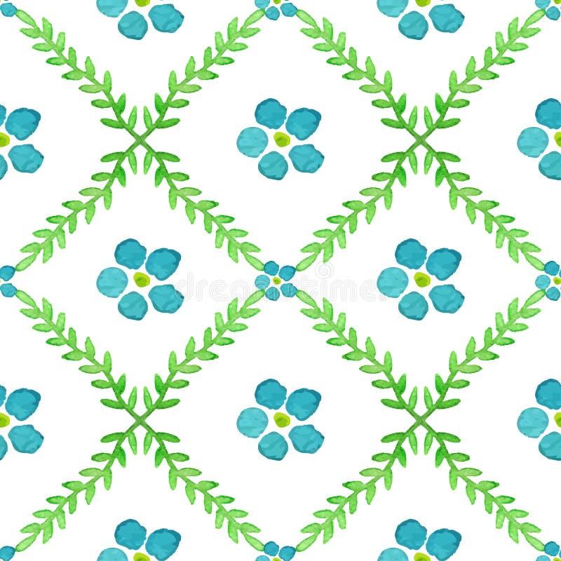 Modèle sans couture avec les fleurs et les brunchs peints à la main d'aquarelle Texture de vecteur de fleurs de myosotis illustration de vecteur