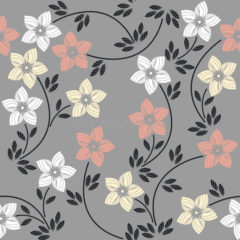 Modèle sans couture avec les fleurs et les feuilles colorées sur le GR illustration de vecteur