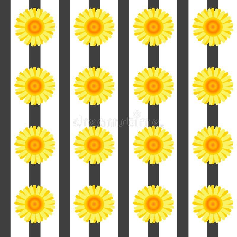 Modèle sans couture avec les fleurs jaunes et les rayures noires illustration stock
