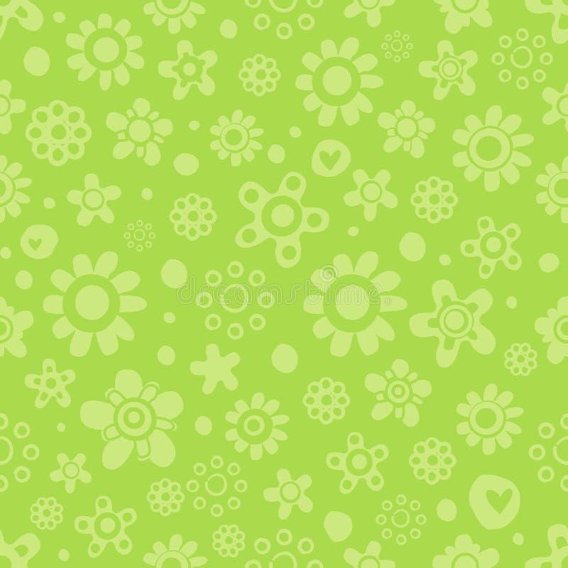 Modèle sans couture avec les fleurs mignonnes dans des couleurs monochromes vertes sur le fond vert illustration de vecteur