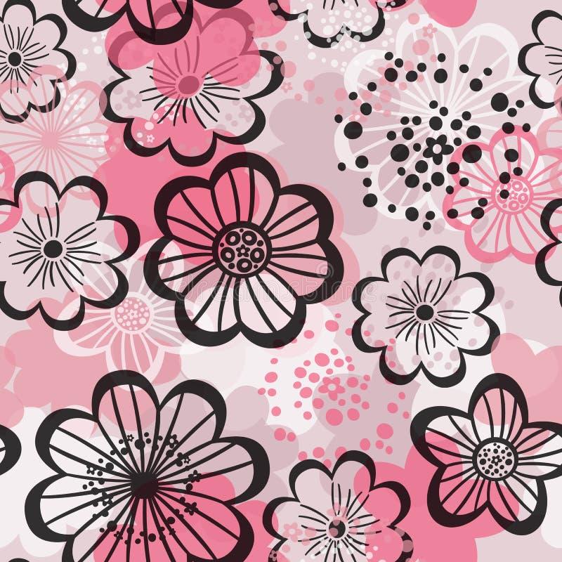 Modèle sans couture avec les fleurs roses illustration de vecteur