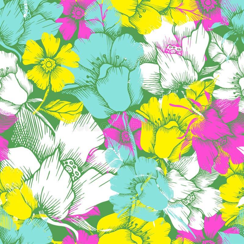 Modèle sans couture avec les fleurs tropicales photo stock