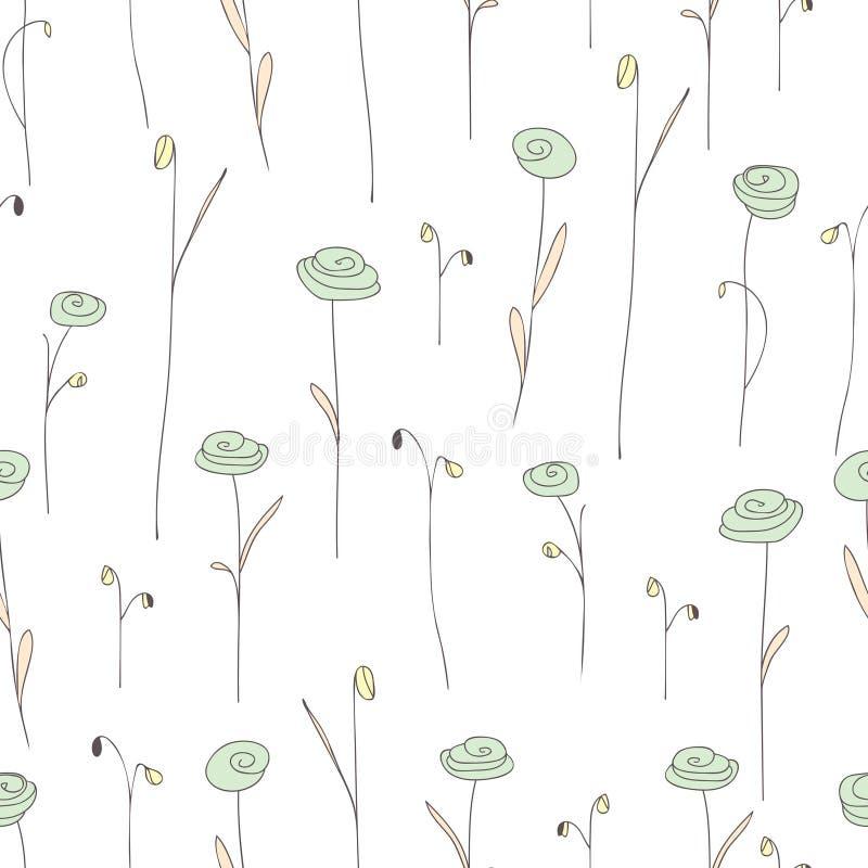 Modèle sans couture avec les fleurs vert clair mignonnes Fond blanc illustration stock