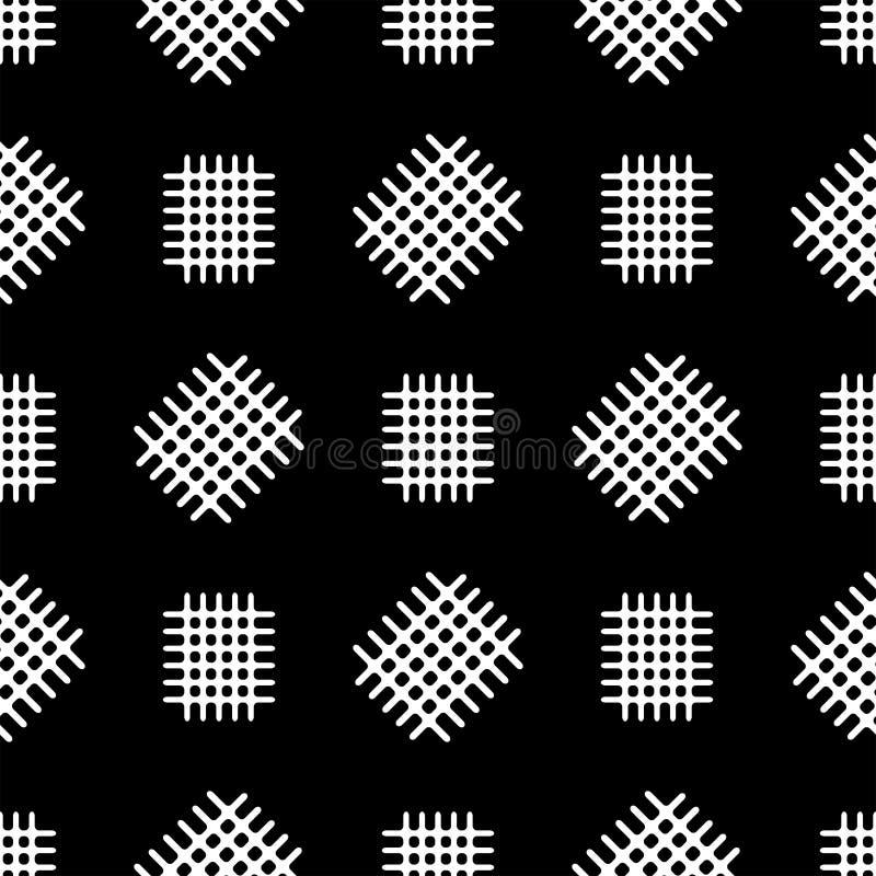 Modèle sans couture avec les fragments dispersés de la grille Copie noire et blanche Illustration de vecteur illustration de vecteur