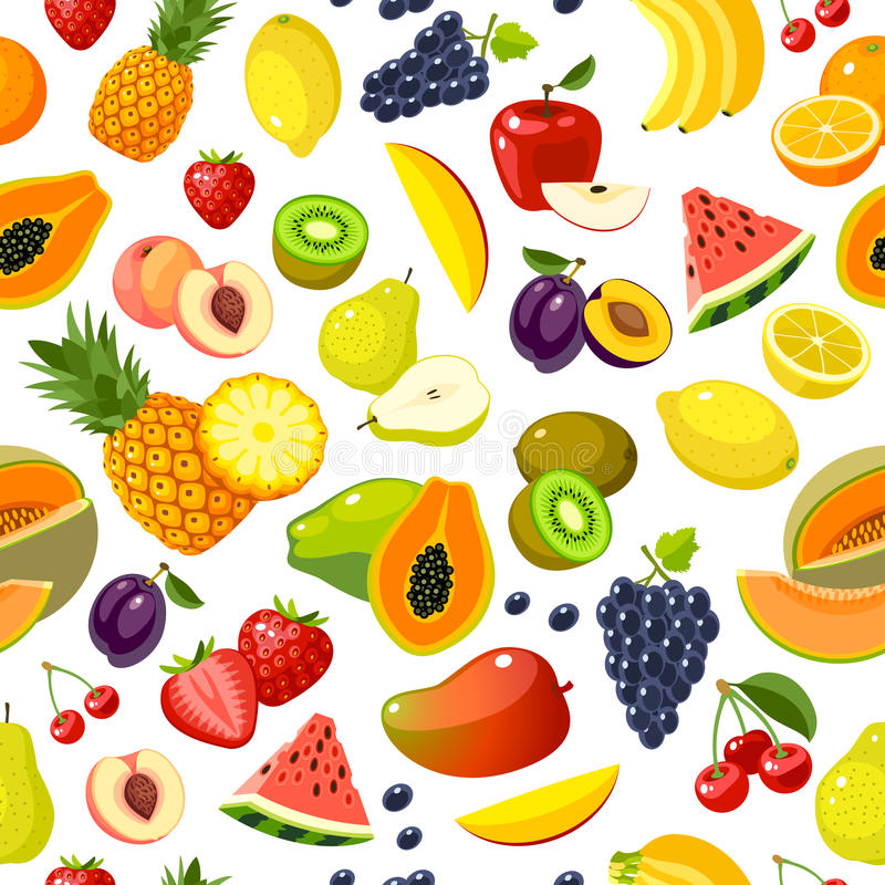 Modèle sans couture avec les fruits colorés de bande dessinée illustration stock