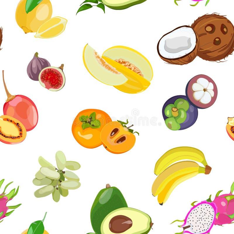 Modèle sans couture avec les fruits entiers des fruits tropicaux Illustration de vecteur images libres de droits