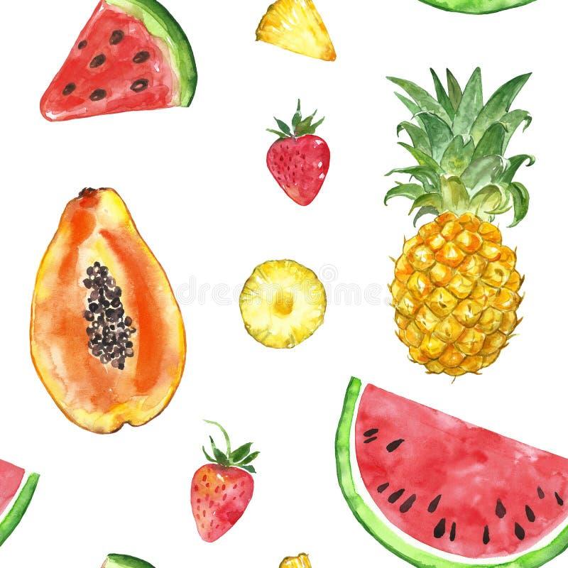 Modèle sans couture avec les fruits exotiques d'isolement d'été d'aquarelle - tranche de pastèque, ananas, papaye, fraise illustration de vecteur