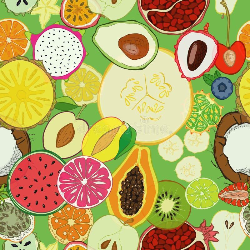 Modèle sans couture avec les fruits frais exotiques illustration stock
