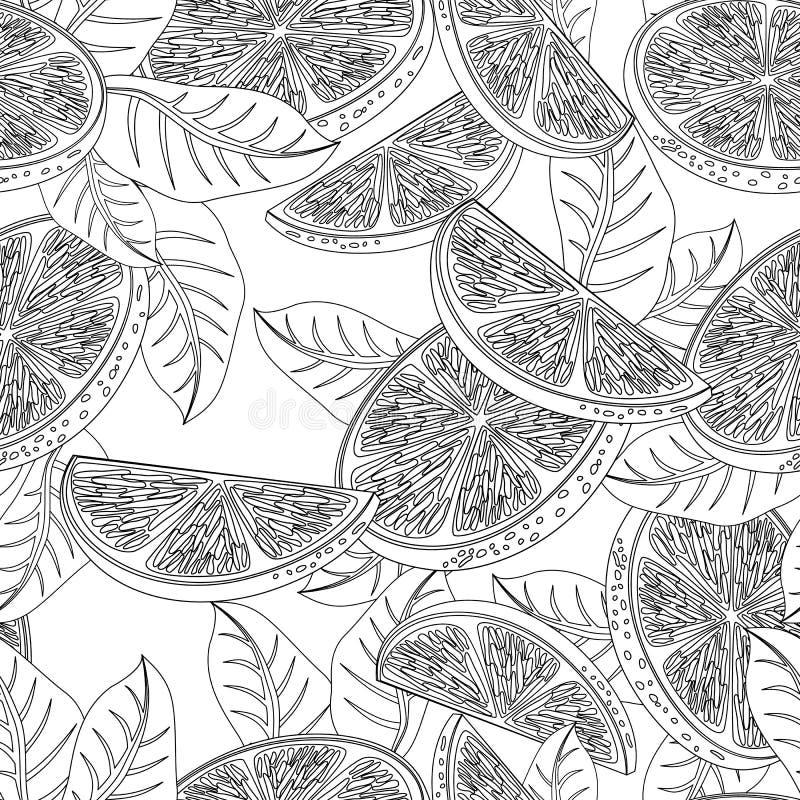 Modèle sans couture avec les fruits oranges illustration de vecteur