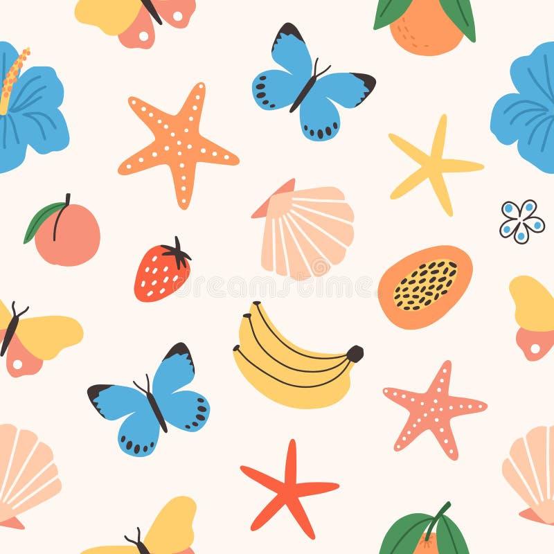 Modèle sans couture avec les fruits tropicaux d'été, papillons, fleurs exotiques, coquillages, étoiles de mer sur le fond blanc p illustration de vecteur