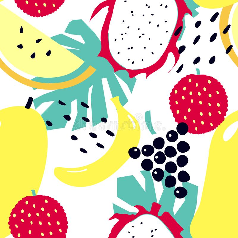 Modèle sans couture avec les fruits tropicaux - mangue, litchi, banane, raisins, fruit du dragon, melon illustration stock