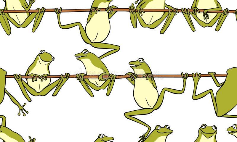 Modèle sans couture avec les grenouilles tirées par la main illustration stock