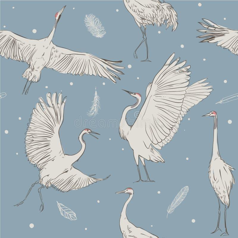 Modèle sans couture avec les grues blanches illustration stock