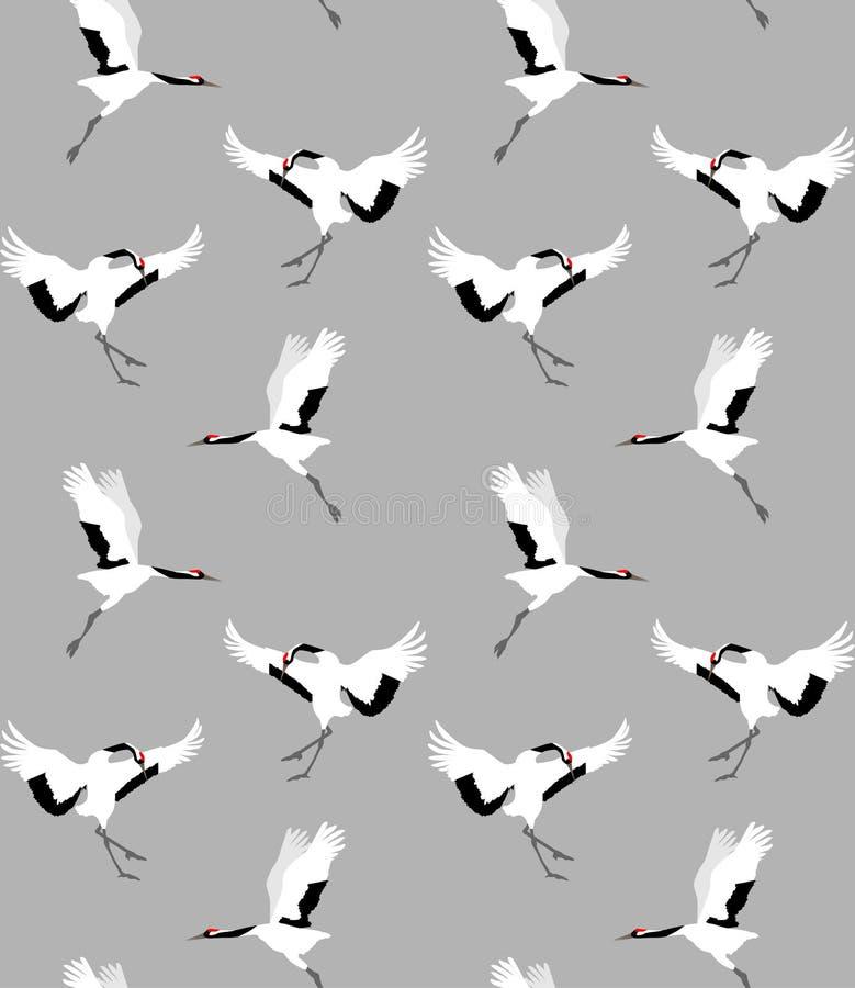 Modèle sans couture avec les grues rouge-couronnées sur le fond gris, illustration de vecteur image libre de droits