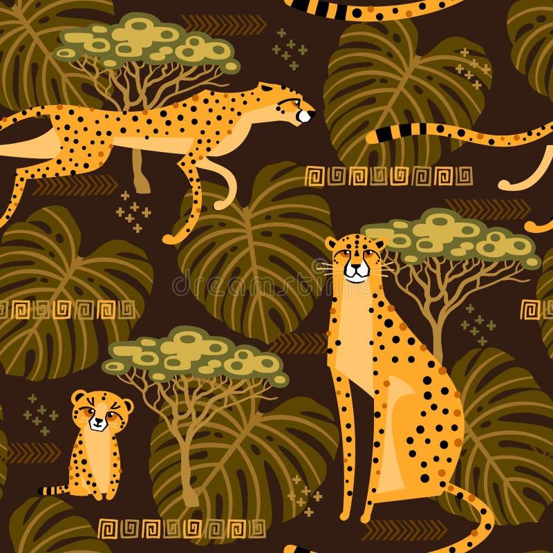 Modèle sans couture avec les guépards, léopards dans la jungle Chats sauvages exotiques répétés à l'arrière-plan de la savane illustration libre de droits