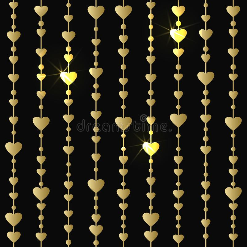 Modèle sans couture avec les guirlandes accrochantes de coeurs d'or illustration libre de droits