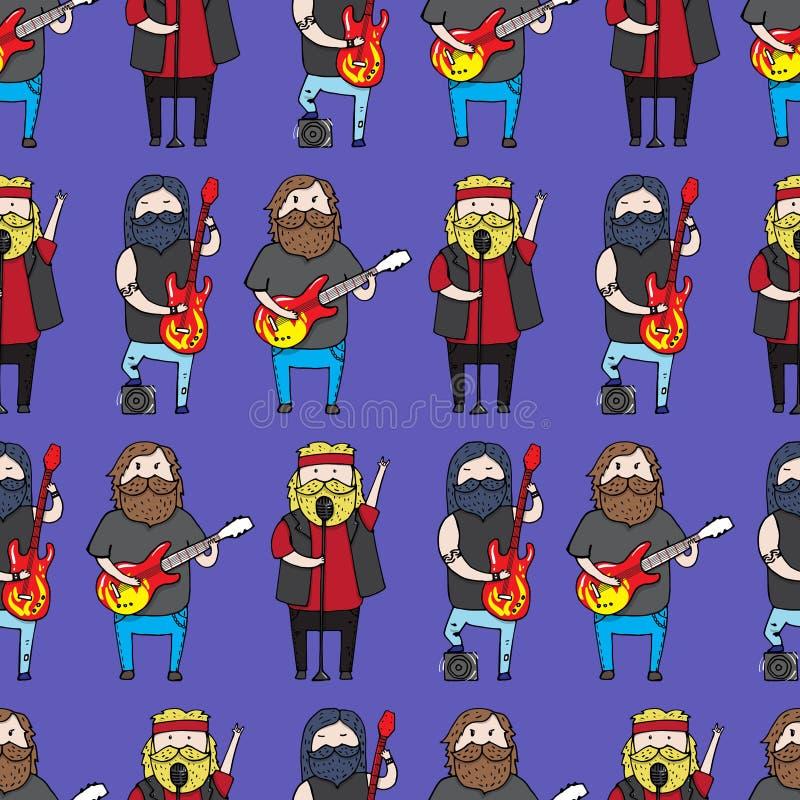Modèle sans couture avec les hommes barbus mignons d'un groupe de rock illustration libre de droits