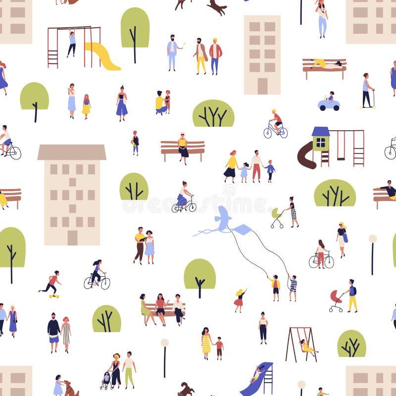 Modèle sans couture avec les hommes et des femmes marchant, vélos de monte, se reposant sur le banc dans des banlieues de ville,  illustration de vecteur