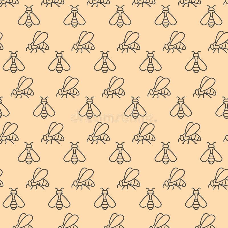 Modèle sans couture avec les icônes linéaires de vecteur d'abeille d'insecte illustration stock