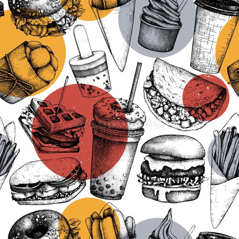Modèle sans couture avec les illustrations tirées par la main d'aliments de préparation rapide Fond de cru pour le menu de camion illustration stock