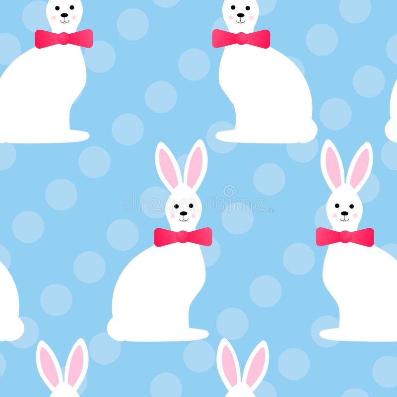 Modèle sans couture avec les lapins blancs mignons d'amusement de Pâques, cercles, couleur bleue Illustration de vecteur illustration libre de droits