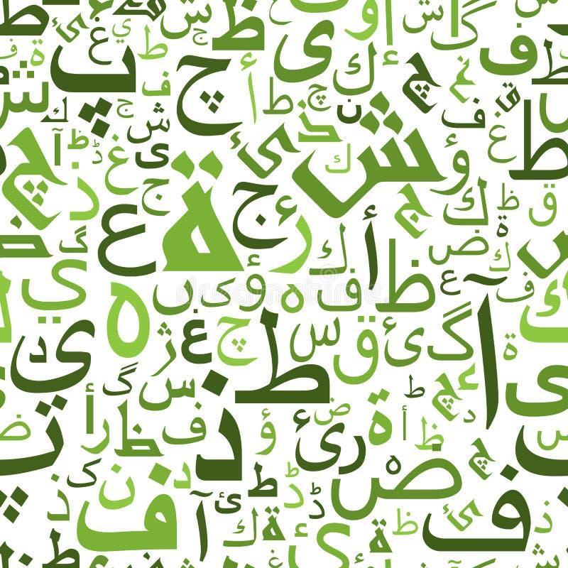 Modèle sans couture avec les lettres arabes vertes illustration libre de droits
