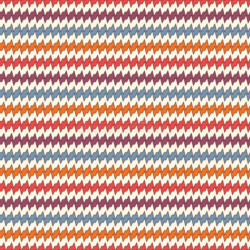 Modèle sans couture avec les lignes déchiquetées horizontales Motif répété de rayures de tranchants Fond lumineux de vagues de co illustration libre de droits