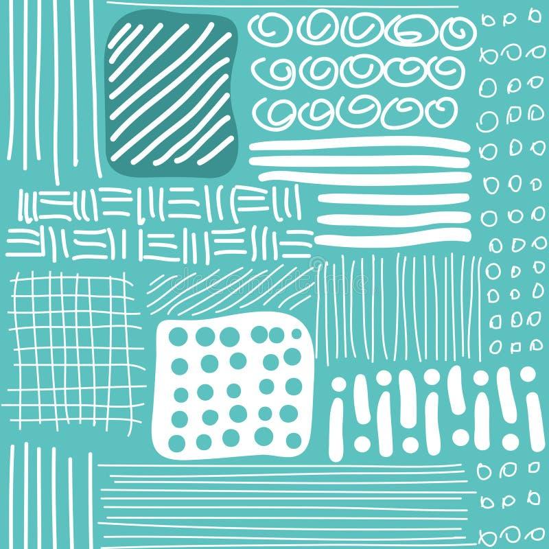 Modèle sans couture avec les lignes tirées par la main, points et illustration de vecteur