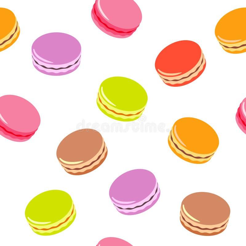 Modèle sans couture avec les macarons colorés assortis sur le fond blanc illustration de vecteur