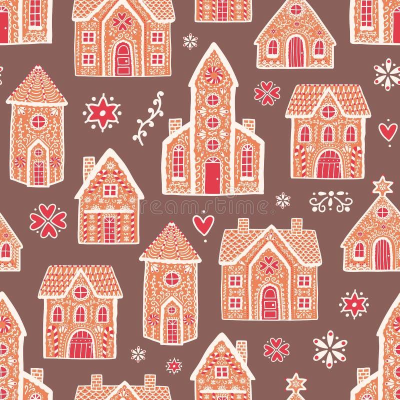 Modèle sans couture avec les maisons de pain d'épice délicieuses douces et décoré du glaçage de sucre Contexte avec le dessert sa illustration libre de droits