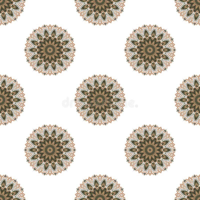 Modèle sans couture avec les mandalas colorés Brésilien, indien, turc illustration de vecteur