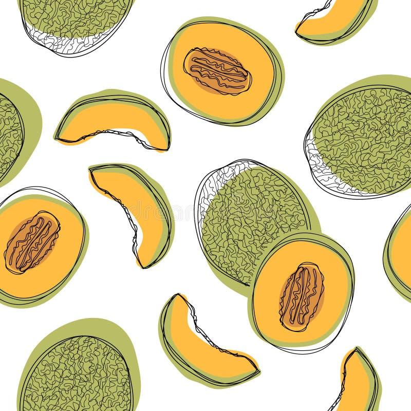 Modèle sans couture avec les melons japonais coupés en tranches, le melon orange ou le melon de cantaloup d'isolement sur le fond illustration libre de droits