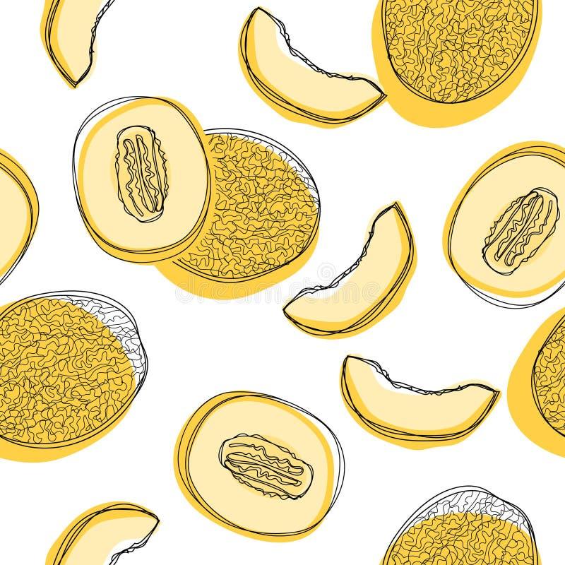 Modèle sans couture avec les melons japonais coupés en tranches, le melon orange ou le melon de cantaloup d'isolement sur le fond illustration stock