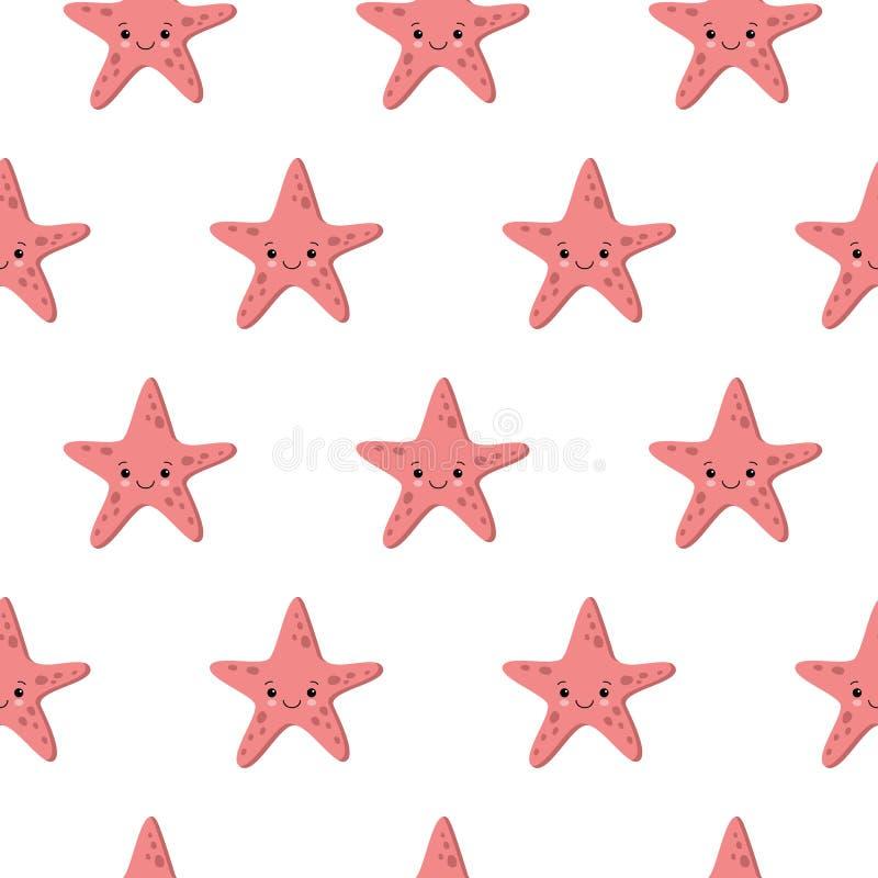 Modèle sans couture avec les milieux nautiques mignons d'étoiles de mer Fond de durée marine illustration de vecteur